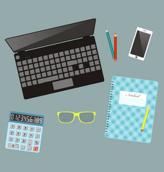 Laptop and ffice stationery workplace top view vector