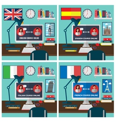 Learning Online Language School Education vector image