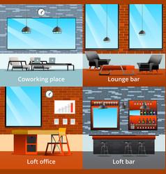 Loft interiors design concept vector