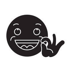 looking good emoji black concept icon vector image