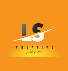 ls l s letter modern logo design with yellow vector image
