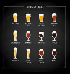 Main beer types on black chalkboard vector