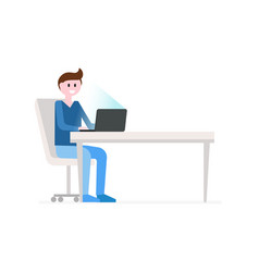 man sitting at workplace vector image