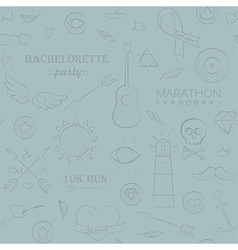Marine doodle seamless hipster pattern vector image