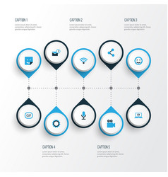 Media colorful icons set collection of animation vector