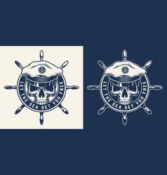 monochrome nautical round print vector image