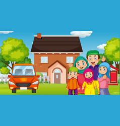 muslim family in front house vector image