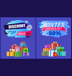 new offer discount winter 2017 big sale set gifts vector image