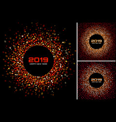 new year 2019 card red backgrounds set vector image