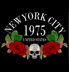 new york rose tee graphic vector image
