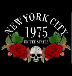 New york rose tee graphic vector