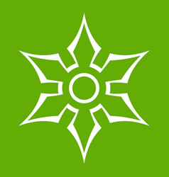 Ninja shuriken star weapon icon green vector