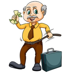 Old man with money vector image