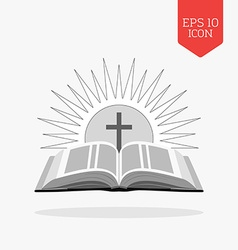 Open bible with sun and cross icon Church logo vector