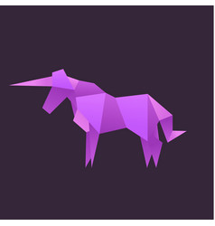 Origami unicorn animals logo vector