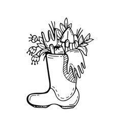 Plants and flowers gardening tools in a boot vector