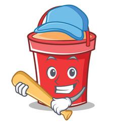 playing baseball bucket character cartoon style vector image