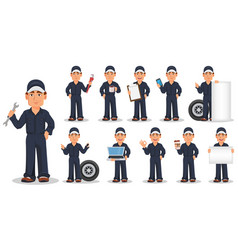 Professional auto mechanic in uniform set vector