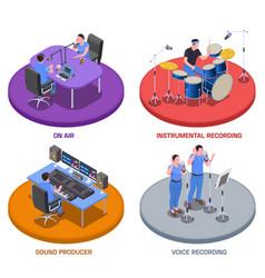 Radio studio concept icons set vector