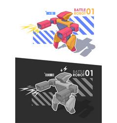 robot warrior battle robot holding blaster or vector image