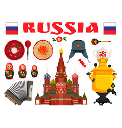 Russia traditional food and entertainment icon set vector
