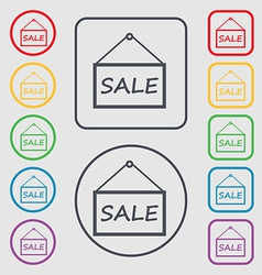 SALE tag icon sign symbol on the Round and square vector