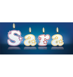 SARA written with burning candles vector image