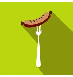 Sausage on a fork flat icon flat style vector image