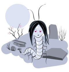 Scolopendra witch in cemetery vector image