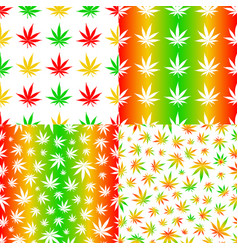 Seamless patterns with cannabis leaves mix colour vector