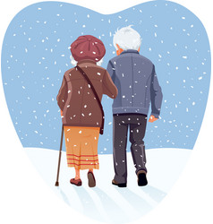 senior couple walking through snow in winter vector image