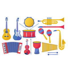 set different musical instruments vector image
