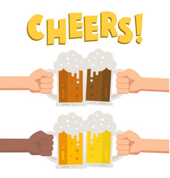 set hands holding glass beer vector image