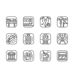 Set of black simple line railway icons vector image