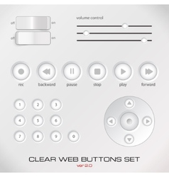 Set of light media control buttons vector image