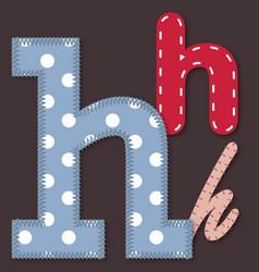 set stitched font - letter h vector image