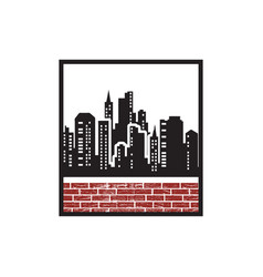 silhouette city for retro vintage badge emblem vector image