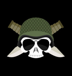 Skull in helmet military emblem army cap and vector