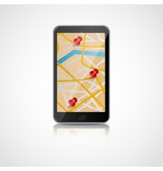 Smart phone with GPS navigation vector