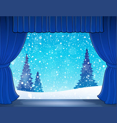 Stage with winter theme 1 vector