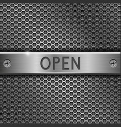 Steel long plate open on perforated background vector
