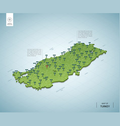 stylized map turkey isometric 3d green map vector image