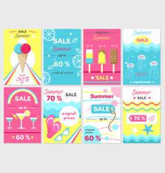 Summer sale up to 70 promotional posters set vector
