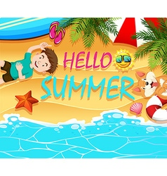 Summer theme with boy and dog on the beach vector
