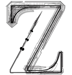 Technical typography Letter Z vector image