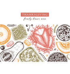 thanksgiving dinner menu design in color vector image