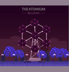 the atomium landmark building in brussels at night vector image