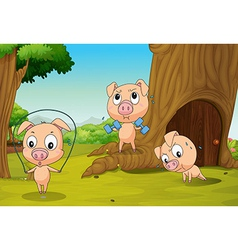 Three pigs at forest vector