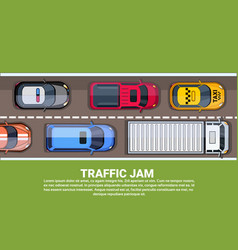 Traffic jam on highway top view with road full of vector