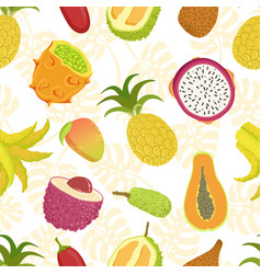 tropical fruits seamless pattern with sweet ripe vector image